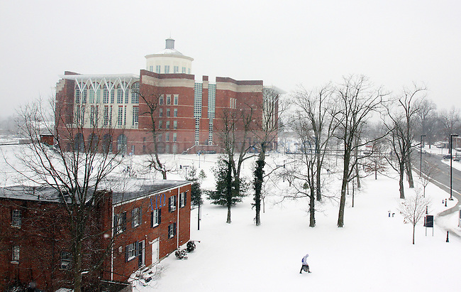 UK's campus gets a dose of snow on Monday. More snow is expected to fall throughout the night into Tuesday. Photo by Scott Hannigan | Staff