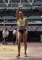 Jessica ENNIS HILL of GBR (Women's Long Jump) waves to the crowd during the Sainsbury's Anniversary Games, Athletics event at the Olympic Park, London, England on 25 July 2015. Photo by Andy Rowland.