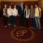 Zhenzhu Ma, Yanping Ma, Xuejiao Bai, Stewart F. Lane, Bonnie Comley, Zhiyong Liu and Wen Chen during the Central Academy of Drama: Professors tour The Palace Theatre on September 25, 2017 at the The Palace Theatre in New York City.