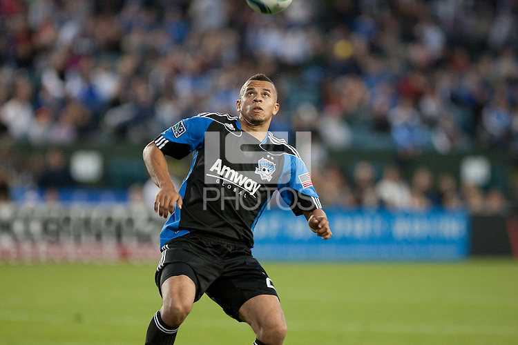 Jason Hernandez looks to bring down the ball. Toronto FC defeated the San Jose Earthquakes 3-1 at Buck Shaw Stadium in Santa Clara, California on May 29th, 2010.