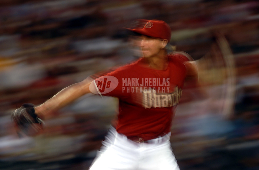 Apr 24, 2007; Phoenix, AZ, USA; Arizona Diamondbacks pitcher (51) Randy Johnson pitches in the fifth inning against the San Diego Padres at Chase Field in Phoenix, AZ. Mandatory Credit: Mark J. Rebilas