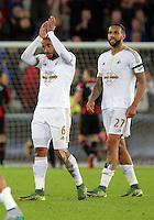 (L-R) Ashley Williams and Kyle Bartley of Swansea thank supporters after the Barclays Premier League match between Swansea City and Bournemouth at the Liberty Stadium, Swansea on November 21 2015