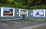 Outdoor exhibition of Robert Landau photos from Rock N Roll Billboards of the Sunset Strip sponsored by the city of West Hollywood on the Sunset Strip circq 2017.