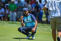 Anirban Lahiri (IND) lines up his putt on 7 during 3rd round of the World Golf Championships - Bridgestone Invitational, at the Firestone Country Club, Akron, Ohio. 8/4/2018.<br /> Picture: Golffile | Ken Murray<br /> <br /> <br /> All photo usage must carry mandatory copyright credit (© Golffile | Ken Murray)