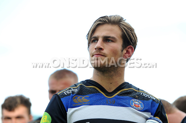 Max Clark of Bath Rugby looks on after the match. West Country Challenge Cup match, between Gloucester Rugby and Bath Rugby on September 13, 2015 at the Memorial Stadium in Bristol, England. Photo by: Patrick Khachfe / Onside Images