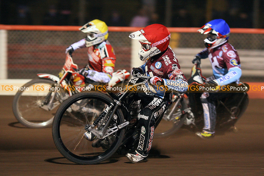 Heat 15: Lee Richardson (red), Niels Kristian Iversen (yellow) and Adam Shields (blue) - Lakeside Hammers vs Peterborough Panthers - Sky Sports Elite League Speedway at Arena Essex Raceway, Thurrock - 03/04/09 - MANDATORY CREDIT: Gavin Ellis/TGSPHOTO - Self billing applies where appropriate - 0845 094 6026 - contact@tgsphoto.co.uk - NO UNPAID USE.