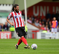 Lincoln City's Michael Bostwick<br /> <br /> Photographer Chris Vaughan/CameraSport<br /> <br /> The EFL Sky Bet League Two Play Off First Leg - Lincoln City v Exeter City - Saturday 12th May 2018 - Sincil Bank - Lincoln<br /> <br /> World Copyright &copy; 2018 CameraSport. All rights reserved. 43 Linden Ave. Countesthorpe. Leicester. England. LE8 5PG - Tel: +44 (0) 116 277 4147 - admin@camerasport.com - www.camerasport.com
