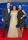 Shonda Rhimes, center, and Tony Goldwyn, left, and Kerry Washington, right, arrive for the 2016 White House Correspondents Association Annual Dinner at the Washington Hilton Hotel on Saturday, April 30, 2016.<br /> Credit: Ron Sachs / CNP<br /> (RESTRICTION: NO New York or New Jersey Newspapers or newspapers within a 75 mile radius of New York City)