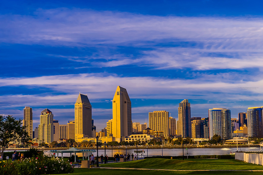 View from the ferry landing on Coronado Island across San Diego Bay to Downtown San Diego, California USA.