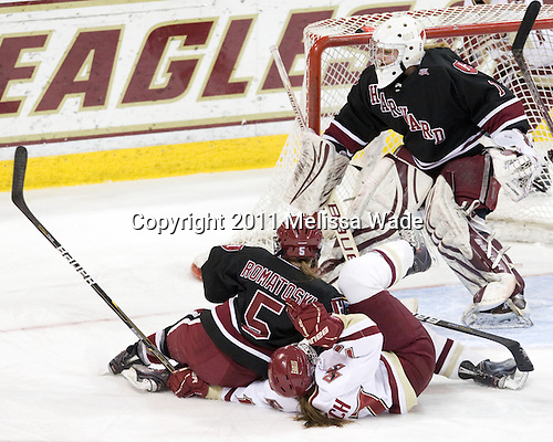 Kelsey Romatoski (Harvard - 5), Danielle Welch (BC - 17), Laura Bellamy (Harvard - 1) - The Boston College Eagles defeated the Harvard University Crimson 3-1 to win the 2011 Beanpot championship on Tuesday, February 15, 2011, at Conte Forum in Chestnut Hill, Massachusetts.