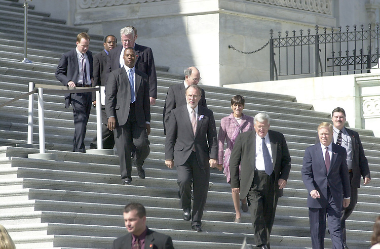 1leaders101701 -- Leadership heading to the House Triangle for a 1:45 pm press conference.