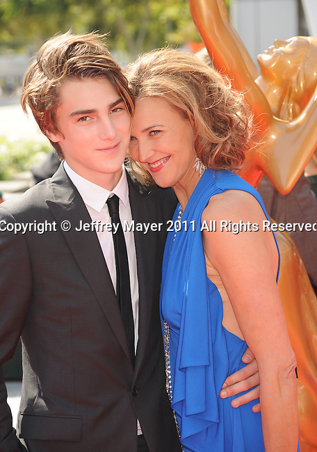 LOS ANGELES, CA - SEPTEMBER 10: Brenda Strong and son Zak Henri. attend the 2011 Primetime Creative Arts Emmy Awards at Nokia Theatre L.A. Live on September 10, 2011 in Los Angeles, California.
