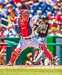 25 July 2013: Washington Nationals catcher Kurt Suzuki in action against the Pittsburgh Pirates at Nationals Park in Washington, DC. The Nationals salvaged the last game of their series, winning 9-7 ending their 6-game losing streak. Mandatory Credit: Ed Wolfstein Photo *** RAW (NEF) Image File Available ***