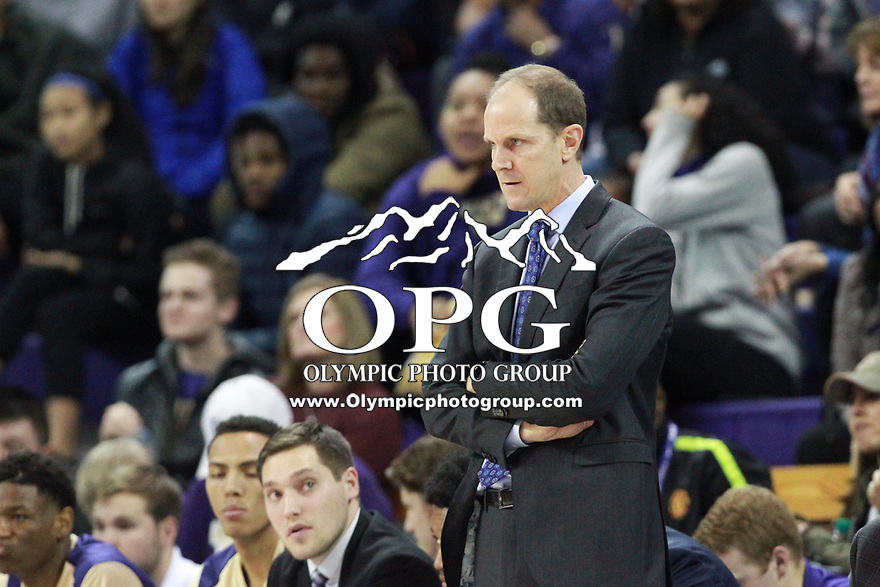 SEATTLE, WA - DECEMBER 17: Washington head coach Mike Hopkins watches his team from the bench against Loyola Marymount.  Washington won 80-77 over Loyola Marymount at Alaska Airlines Arena in Seattle, WA.  (Photo by Jesse Beals/Icon Sportswire