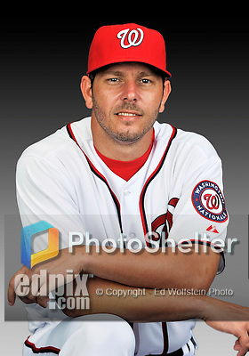 25 February 2011: Washington Nationals' pitcher Yunesky Maya poses for his Photo Day portrait at Space Coast Stadium in Viera, Florida. Mandatory Credit: Ed Wolfstein Photo