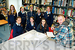 Author Seamus Brra O'Suilleabháinn with students Ciara Daly, Kayleigh Maxwell, Meagan O'Malley, Clionagh Griffin, Danielle Foley, Maria O'Keeffe (teacher), Philomena Hickey and Celine Leahy at the Tralee Education Centre on Thursday for the Master Writers Workshop.