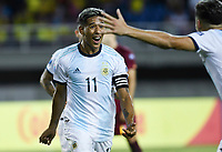 PEREIRA - COLOMBIA, 30-01-2020: Matias Zarancho de Argentina celebra después de anotar el segundo gol de su equipo durante partido entre Venezuela U-23 y Argentina U-23 por la fecha 5, grupo A, del CONMEBOL Preolímpico Colombia 2020 jugado en el estadio Hernán Ramírez Villegas de Pereira, Colombia. / Matias Zarancho of Argentina celebrates after scoring the second goal of his team during match between Venezuela U-23 and Argentina U-23 for the date 5, group A, for the CONMEBOL Pre-Olympic Tournament Colombia 2020 played at Hernan Ramirez Villegas stadium in Pereira, Colombia. Photo: VizzorImage / Julian Medina / Cont