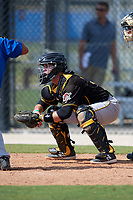Pittsburgh Pirates catcher Jason Delay awaits a pitch during a Florida Instructional League game against the Toronto Blue Jays on September 20, 2018 at the Englebert Complex in Dunedin, Florida.  (Mike Janes/Four Seam Images)