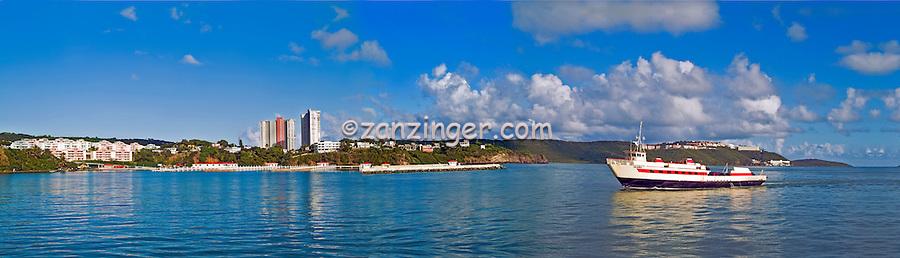 Fajardo, Puerto Rico Ferry returning from St Thomas VI, Panorama CGI Backgrounds, ,Beautiful Background