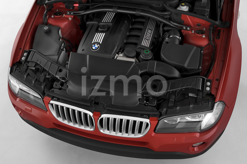 High angle engine view of a 2008 BMW X3