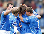 St Johnstone v Hearts...25.09.11   SPL Week 9.Cillian Sheridan celebrates his first goal with Willie Gibson, David McCracken and Chris Millar.Picture by Graeme Hart..Copyright Perthshire Picture Agency.Tel: 01738 623350  Mobile: 07990 594431