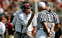 TALLAHASSEE, FL 9/18/10-FSU-BYU FB10 CH-Florida State Head Coach Jimbo Fisher yells at officials after they failed to call a penalty for Bert Reed helmet's being removed by a Brigham Young player during first half action Saturday at Doak Campbell Stadium in Tallahassee. .COLIN HACKLEY PHOTO