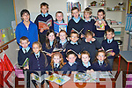 "TEACHER: Geraldine Lynch welcomes her new pipils to her Junior Infants Class with her fellow students on Wednesday at Scóil Chríost Rí Drumnacurra, Causeway. Front l-r: Zach Walsh, Ella Diggins, Megan Barrett,mRuaraí Walsh and Shane Leahy. ""n row l-r: Geraldine Lynch (teacher), Sarah Diggins, Grace Cantillon, Paddy Diggins,Tara Burke and Maurice O'Donoghue. Back l-r: Lauryn Carcia, Osva Cricius, Cathal and Cian Diggins, Joseph Harty and Andrew Butler"