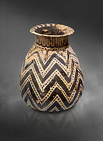 Minoan  alabastron with zig zag design, Machlos 1500-1400 BC; Heraklion Archaeological  Museum, grey background.