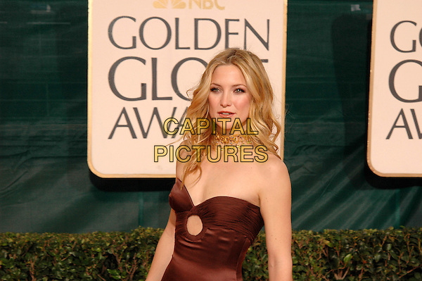 KATE HUDSON.62nd Annual Golden Globe Awards, Beverly Hills, Los Angeles, California.January 16th, 2005.half length, brown strapless cut away cut out dress, gold necklace.www.capitalpictures.com.sales@capitalpictures.com.Supplied by Capital Pictures.