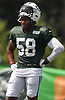 Darron Lee #58 of the New York Jets practices during training camp at the Atlantic Health Jets Training Center in Florham Park, NJ on Monday, Aug. 6, 2018.