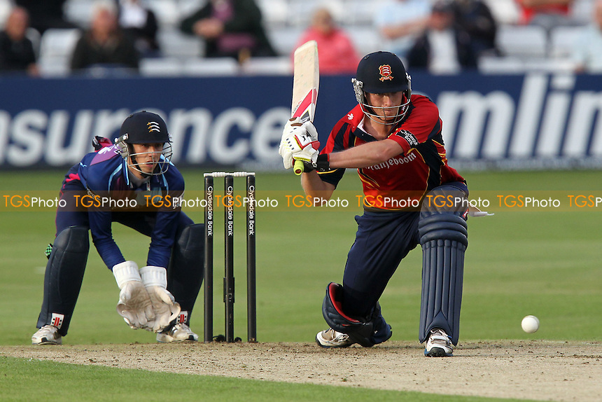 Tom Westley in batting action for Essex as John Simpson looks on - Essex Eagles vs Middlesex Panthers - Clydesdale Bank CB40 cricket at the Ford County Ground, Chelmsford, Essex - 18/07/12 - MANDATORY CREDIT: Gavin Ellis/TGSPHOTO - Self billing applies where appropriate - 0845 094 6026 - contact@tgsphoto.co.uk - NO UNPAID USE.