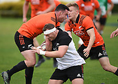 14th September 2017, Alexandra Park, Auckland, New Zealand; New Zealand Rugby Training Session;  Wyatt Crockett is tackled by Ryan Crotty