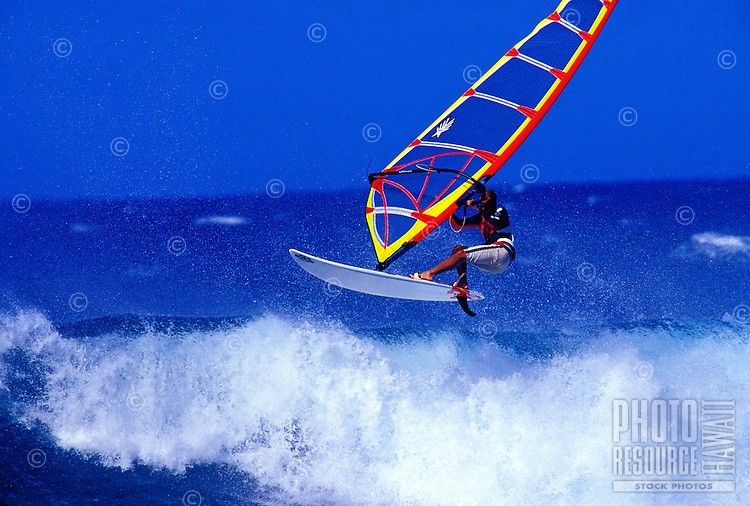 Windsurfer at Hookipa beach on Maui