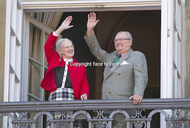 16-04-2013 Balcony Queen Margrethe at the balcony at Amalienborg Palace on her 73th birthday. ..Prince Henrik ....Credit: PPE/face to face..- No Rights for Netherlands -