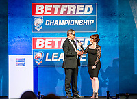 Picture by Allan McKenzie/SWpix.com - 25/09/2018 - Rugby League - Betfred Championship & League 1 Awards Dinner 2018 - The Principal Manchester- Manchester, England - Natalie Quirke interviewes Neil Reynolds of the London Broncos.