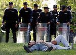 Fudbal, Super league, play off, season 2006/07.Partizan Vs. Crvena Zvezda.Delije, Red Star fans, sleep on the grass, Police is behind.Beograd, 05.05..2007..foto: Srdjan Stevanovic