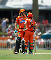 24th November 2019; Lilac Hill Park, Perth, Western Australia, Australia; Womens Big Bash League Cricket, Perth Scorchers versus Sydney Sixers; Natalie Sciver and Nicole Bolton of the Perth Scorchers get together before the last over - Editorial Use
