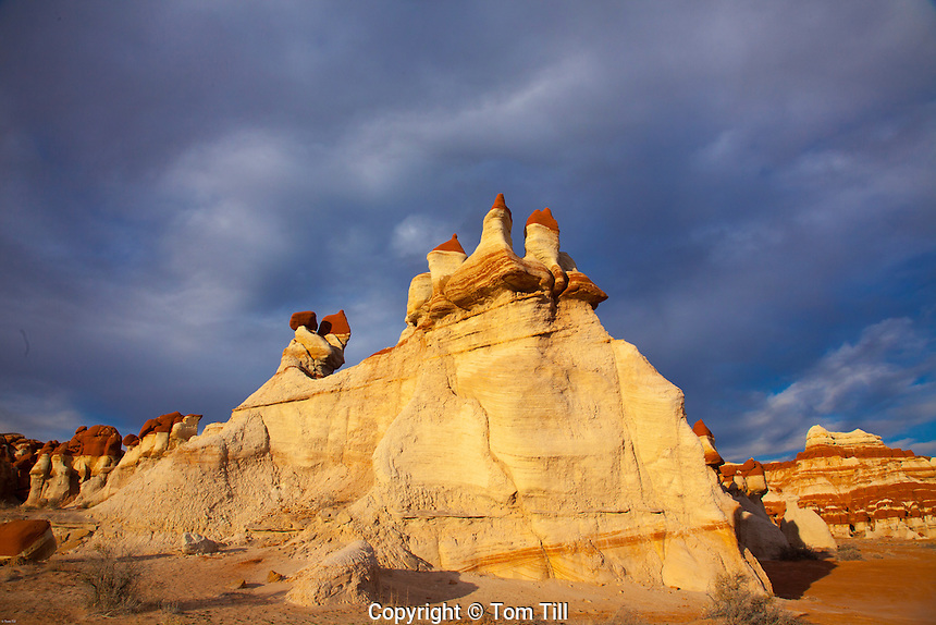 Mudmen hoodoos and clouds at Blue Mesa, Hopi Reservation, Arizona