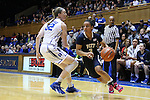 29 January 2015: Pitt's Brianna Kiesel (3) and Duke's Erin Mathias (32). The Duke University Blue Devils hosted the University of Pittsburgh Panthers at Cameron Indoor Stadium in Durham, North Carolina in a 2014-15 NCAA Division I Women's Basketball game. Duke won the game 62-45.