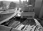 Pittsburgh PA - View of the US Post Office and Federal Building from the roof of Penn Station - 1959. View of the near road construction around the Civic Arena and Bigelow Boulevard.