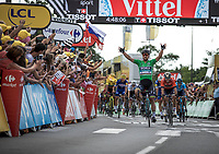 Green Jersey Peter Sagan (SVK/Bora Hansgrohe) takes the victory.<br /> <br /> Stage 5: Lorient > Quimper (203km)<br /> <br /> 105th Tour de France 2018<br /> ©kramon