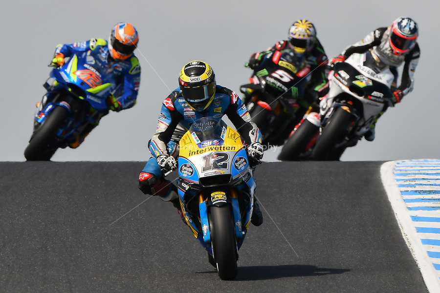 October 27, 2018: Thomas Luthi (SWI) on the No.12 Honda from Eg 0,0 Marc Vds at Lukey Heights corner during practice session four at the 2018 MotoGP of Australia at Phillip Island Grand Prix Circuit, Victoria, Australia. Photo Sydney Low