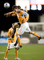 28 March 2009: Bobby Boswell of Dynamo battles for the ball in the air against Cam Weaver of Earthquakes during the game at Buck Shaw Stadium in Santa Clara, California.  San Jose Earthquakes defeated Houston Dynamo, 3-2.