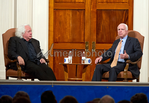 United States Senator John McCain (Republican of Arizona), in conversation with writer Leon Wieseltier, explores parallels between his life and that of the late Israeli Prime Minister Yitzhak Rabin, sharing his own journey from soldier to statesman for the Jewish Primary Day School of the Nationís Capitalís eleventh annual Yitzhak Rabin Memorial Lecture at Sixth & I Historic Synagogue, in Washington, DC, Wednesday, May 24, 2017. Photo Credit: Ron Sachs/CNP/AdMedia