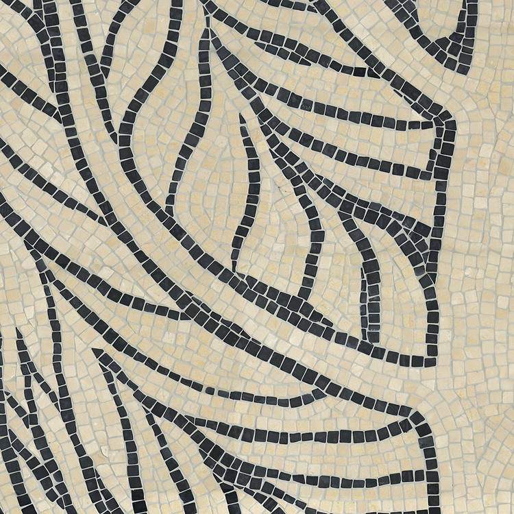 Twiggy, a hand-chopped stone mosaic, shown in tumbled Crema Marfil and Nero Marquina. Designed by James Duncan for New Ravenna.