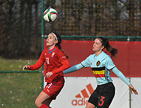 20180221 - TUBIZE , BELGIUM : Belgian Romy Camps (R) and Czech Republican Andrea Hola (L) pictured during the friendly female soccer match between Women under 17 teams of  Belgium and Czech Republic , in Tubize , Belgium . Wednesday 21th February 2018 . PHOTO SPORTPIX.BE DIRK VUYLSTEKE