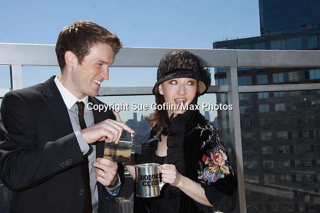"""Claybourne Elder & Melissa van der Schyff - Bonnie & Clyde's """"Buck & Blanche"""" with cool items at Promo shoot for the annual Broadway Extravaganza in honor of Jane Elissa's Candidacy for Leukemia & Lymphoma Society Woman of the Year and for Hats for Health on April 23, 2012 at the Marriott Marquis Hotel, New York City, New York. In the shoot are Days of Our Lives Louise Sorel """"Vivian"""", Broadway Bonnie and Clyde's Melissa VanDer Schyff and Clay Elder, Dale Badway (Creator Fame-Wall) and host for the upcoming event, Corey Brunish (producer of Bonnie & Clyde) and Billy Freda, singer songwriter Missy Modell (Photo by Sue Coflin/Max Photos)"""