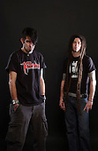 Lamb Of God; Randy Blythe; Brian Fair of Shadows Fall; Studio Session; <br /> In New York; 2004;<br /> Photo Credit: Eddie Malluk /AtlasIcons