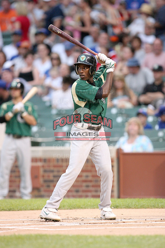June 29, 2008:  Jemile Weeks (3) of the Kane County Cougars playing in the first ever MiLB game at Wrigley Field in Chicago, IL.  Photo by:  Chris Proctor/Four Seam Images