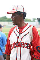 Former Negro League standout Jake Sanders before the 20th Annual Rickwood Classic Game against the Jacksonville Suns on May 27, 2015 at Rickwood Field in Birmingham, Alabama.  Jacksonville defeated Birmingham by the score of 8-2 at the countries oldest ballpark, Rickwood opened in 1910 and has been most notably the home of the Birmingham Barons of the Southern League and Birmingham Black Barons of the Negro League.  (Mike Janes/Four Seam Images)